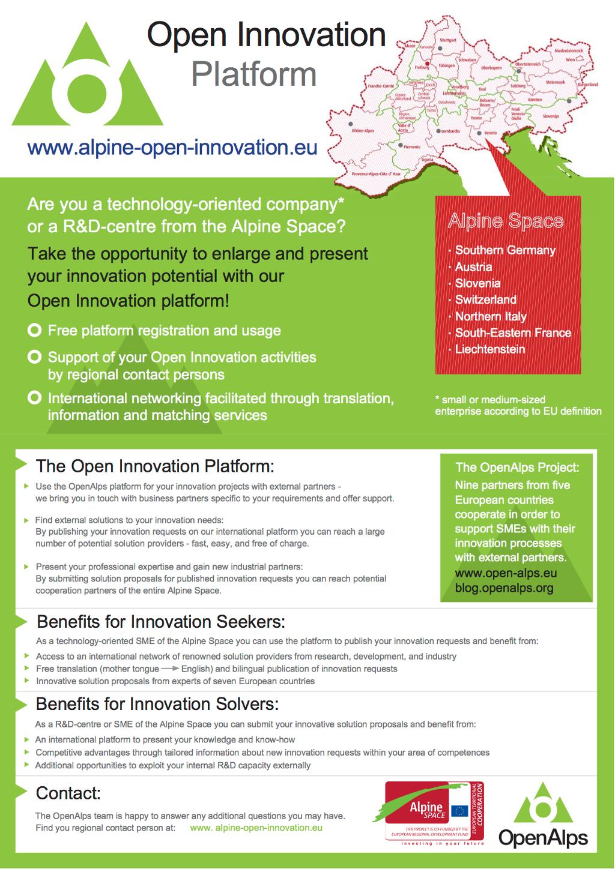 OPENALPS: PLATEFORME D'INNOVATION OUVERTE. Innovation ouverte pour les PME – les idées n'ont pas de frontières.